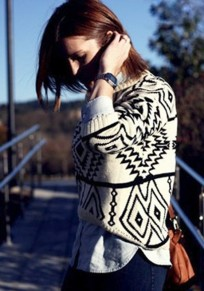 Beige Geometric Print Round Neck Wrap Wool Sweater
