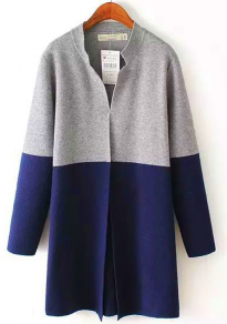 Blue-Grey Patchwork Single Button Turndown Collar Knit Cardigan Sweater
