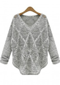 Grey Plain Hollow-out Bat Sleeve Pullover