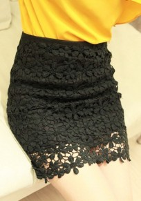 Black Plain Wrap Sexy Classic Cotton Lace Skirt
