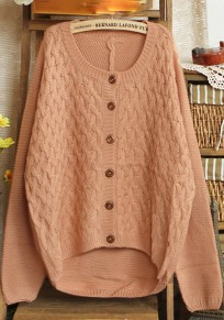 Pink Cross Print Round Neck Cotton Blend Cardigan