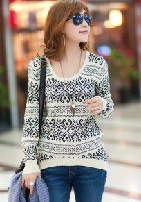 Beige Striped Geometric Round Neck Wool Blend Sweater